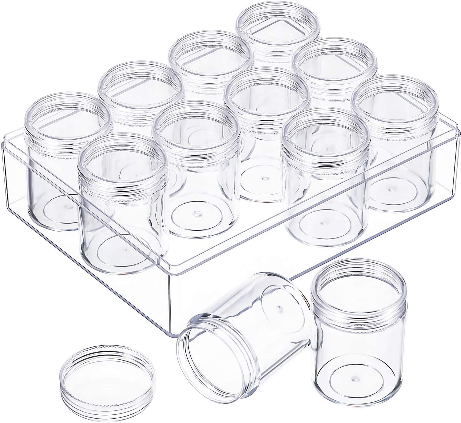 Blulu Clear Bead Organizer Bead Storage Containers Set with 12 Boxes 1.4 x 1.5 Inches 1.9 x 1.5 Inches