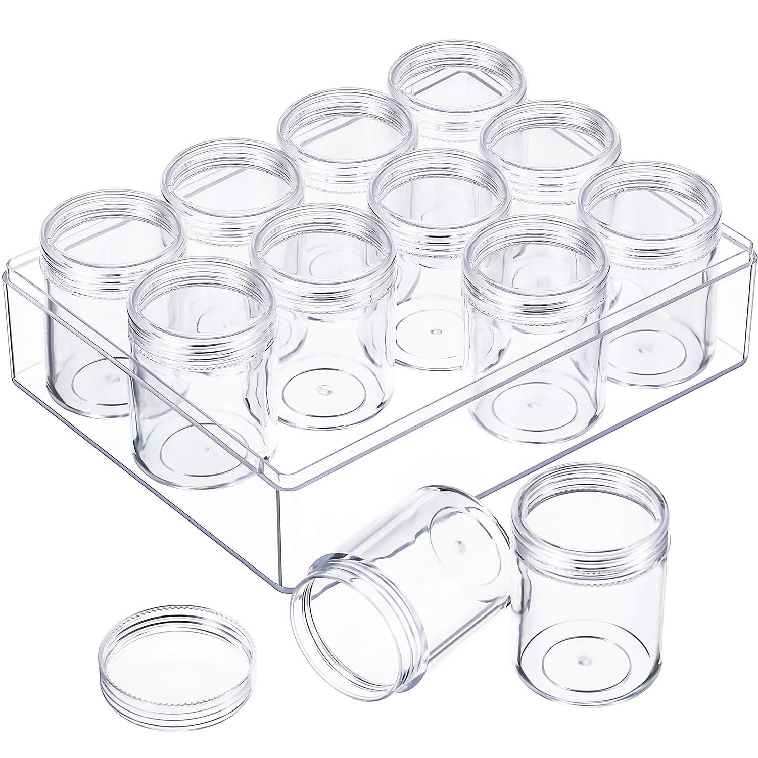 Blulu Clear Bead Organizer Bead Storage Containers Set with 12 Boxes, 1.9 x 1.5 Inches