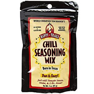 Happy Trails Chili Seasoning Mix - Gourmet Texas Style Chili Powder Seasoning - All Natural, Non GMO, Gluten Free Chili Seasoning - Championship Texas Chili Recipe - Resealable, 3 Oz - Pack of 6