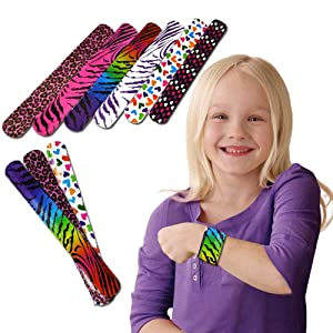 Toy Cubby Slap Bracelets - Mega Bulk Pack of 25 Assorted Print Heart and Animal Slap Bands - Enjoy These Fun Pattern Hand-Bands at School, Birthday Parties, Classroom Awards... and So Much More!!!