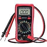 Digitaler Multimeter, TopElek Digital Multimeter mit Batterietestfunktion, Amp / Volt / Ohm Meter, Manual-ranging Multitester / VOM für Messspannung / Strom / Widerstand / Frequenz / Diode / Durchgang / Diode mit LCD-Hintergrundbeleuchtung-Anzeige, Rot