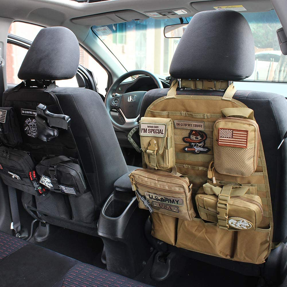 WYNEX Car Seat Back Organizer 2019 Tactical Molle Vehicle Panel Universal Fit Car Backseat Cover Protector with 3 Storage Pouch