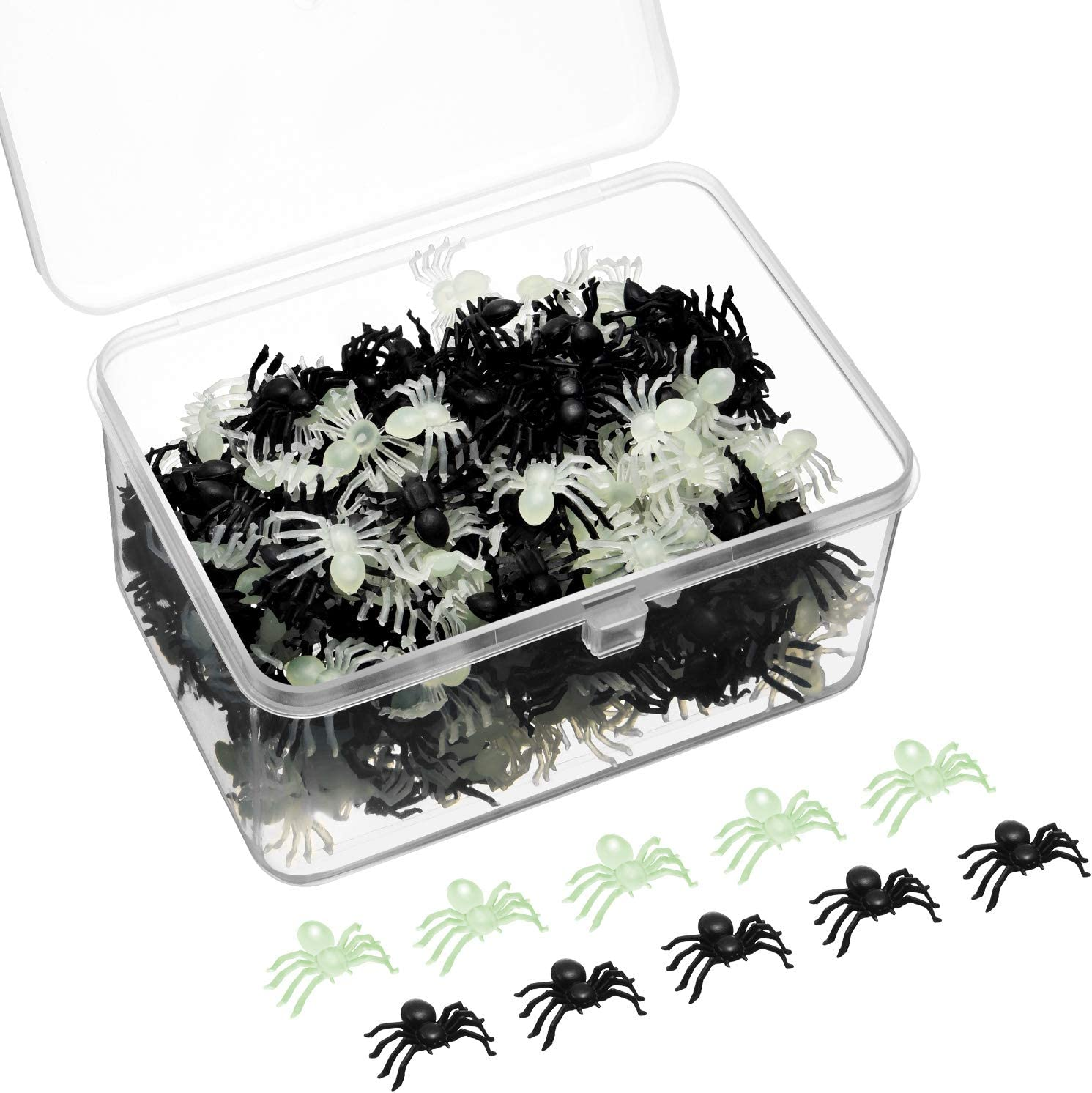 300 Pieces Mini Plastic Spiders Halloween Simulated Spiders Black and Luminous Spiders Realistic Prank Toy with Plastic Storage Box for Halloween Decor Supplies