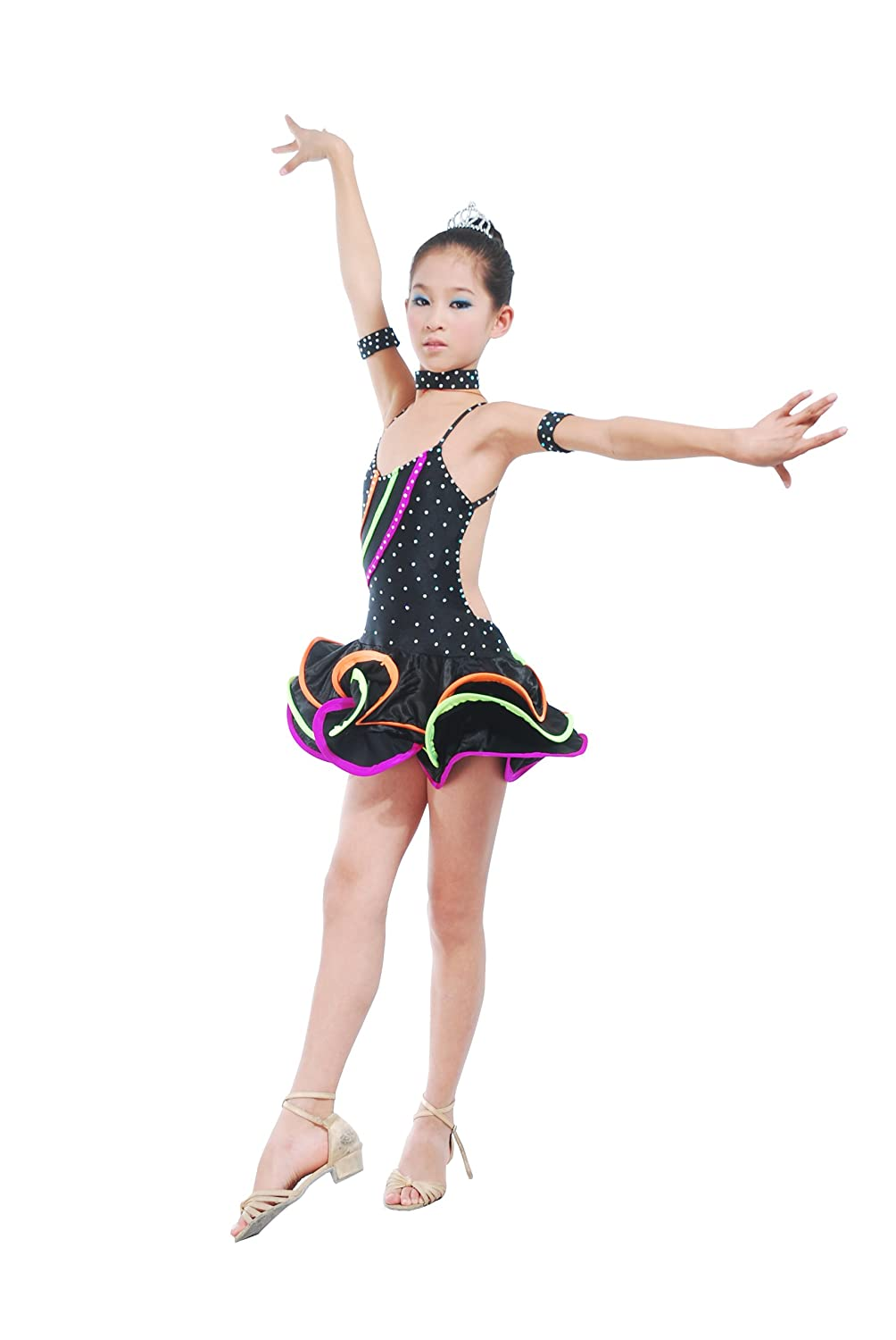Colorfulworldstore Child Girls/Ladies Latin dance dress-Over all dress in 3sets-Black