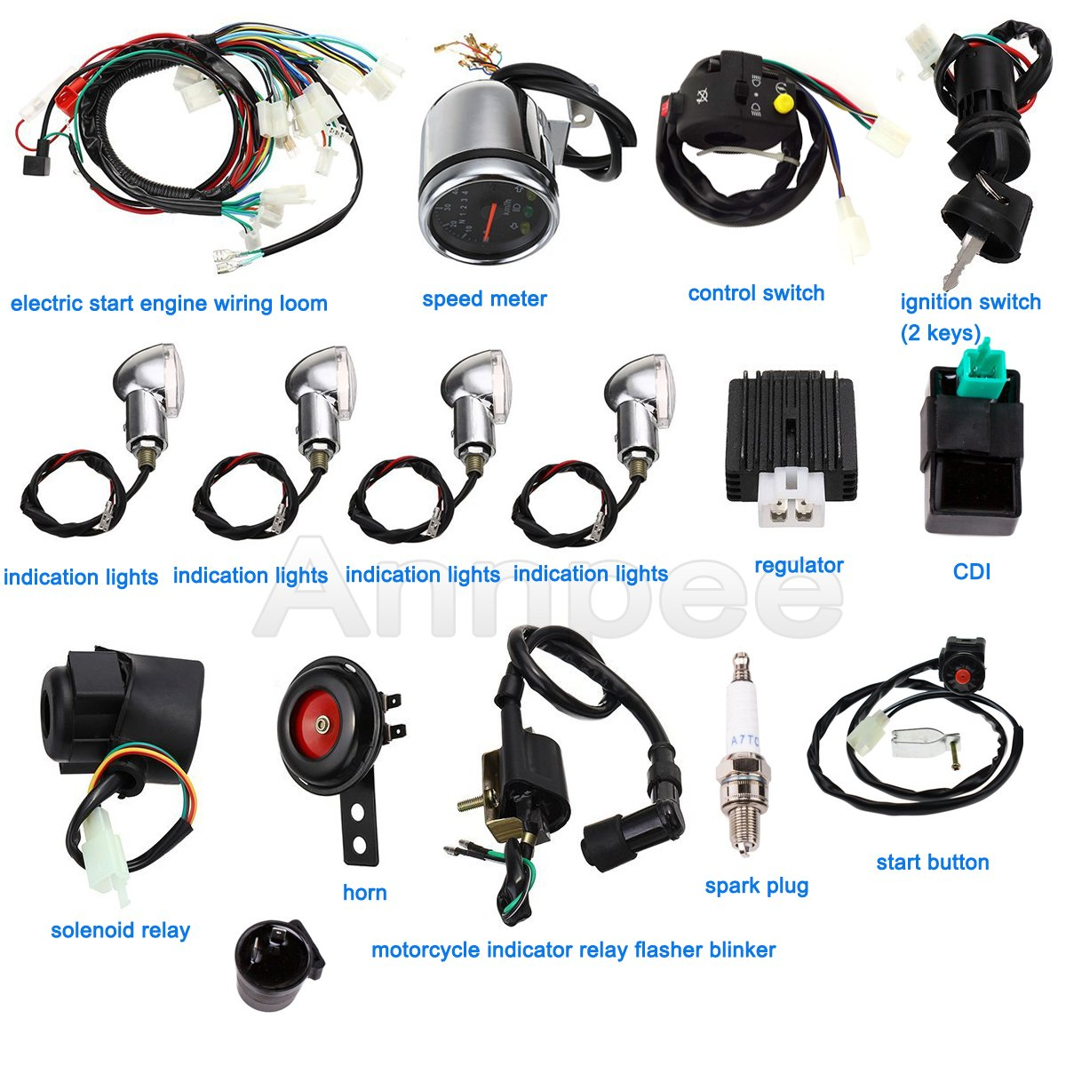 Annpee Full Electric Start Engine Wiring Harness Loom Motorcycle Looms 110cc 125cc Quad Bike Atv Buggy Automotive
