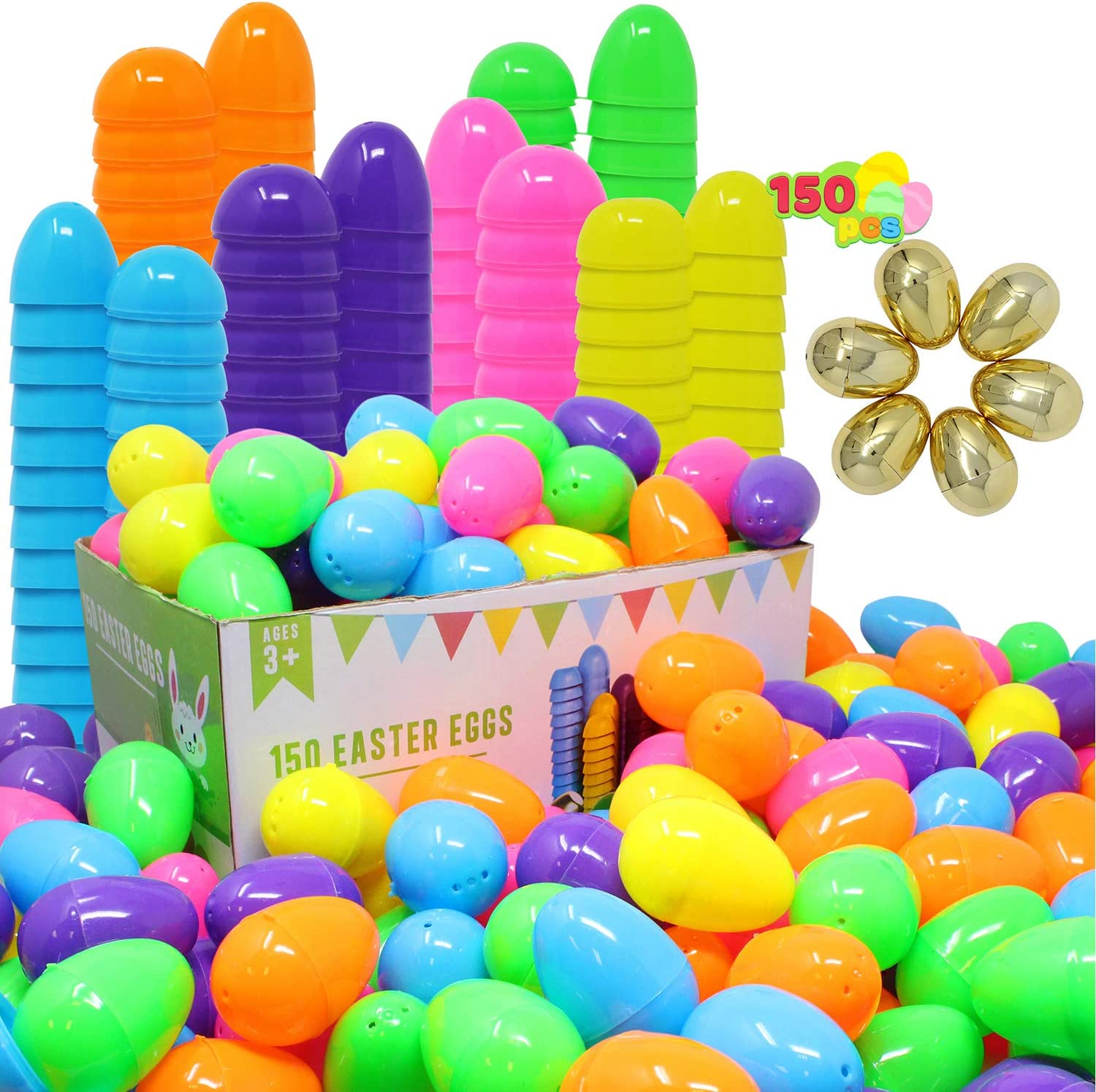 Joyin 144 Pieces 2 3 8 Easter Eggs 6 Golden Eggs For Filling Specific Treats Easter Theme Party Favor Easter Eggs Hunt Basket Stuffers Filler Classroom Prize Supplies Toy Toys Games
