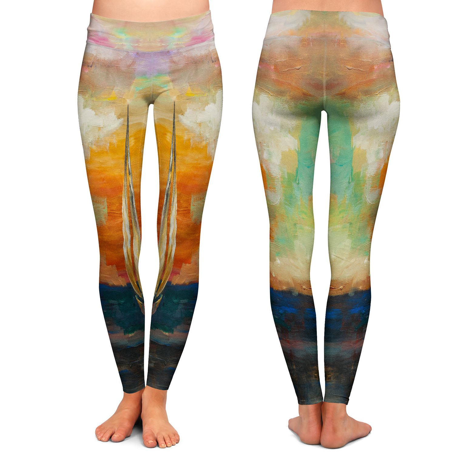 Athletic Yoga Leggings from DiaNoche Designs by Lam Fuk Tim Sunset Sailing 1