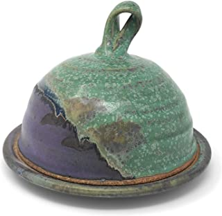 product image for Dock 6 Pottery Butter or Cheese Dish with Dome Lid, Purple/Green