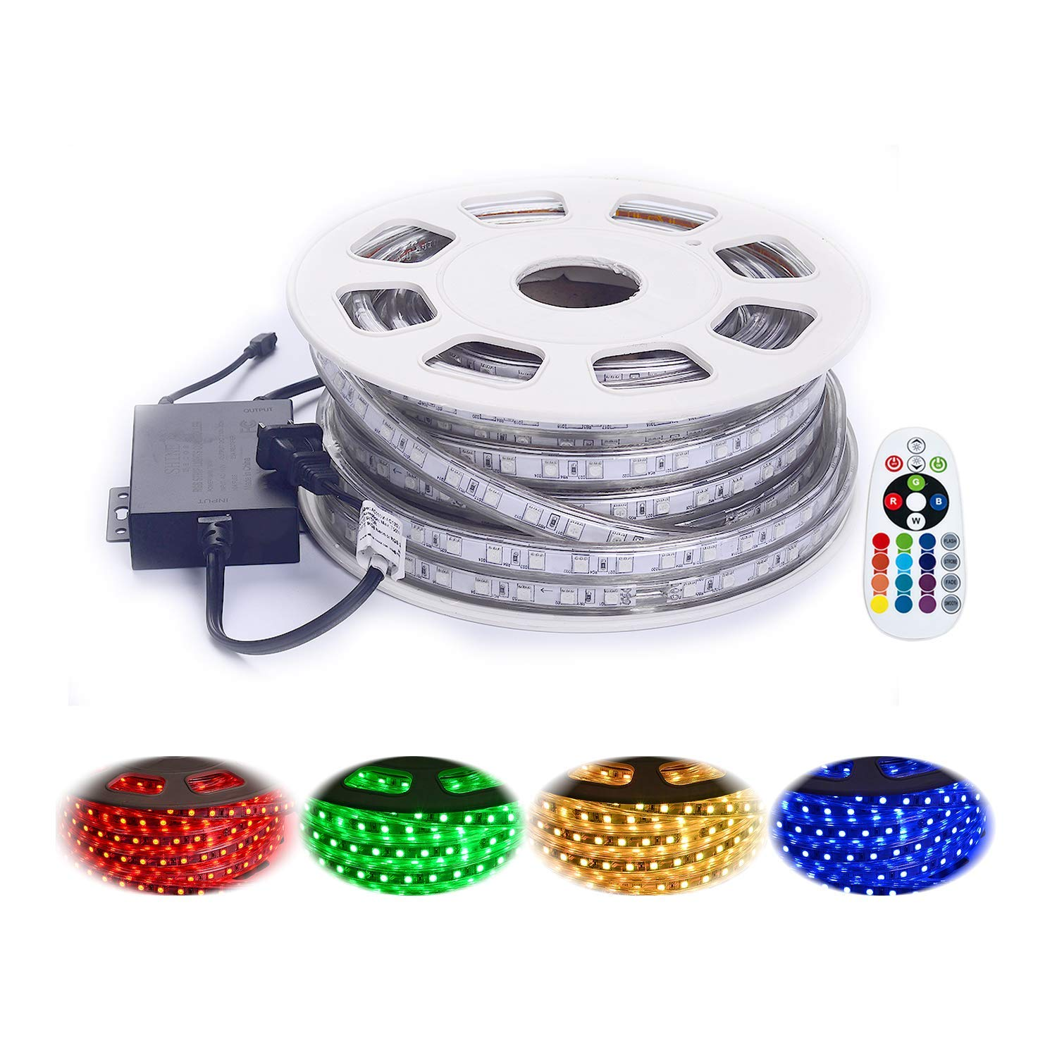 Shine Decor 14 Colors RGB Led Strip Lights, Rope Light, High Voltage 110V-120V, SMD5050,50ft/roll, with Plastic Tube Cover, Flexible Indoor/Outdoor use, Accessories Included + Remote Controller