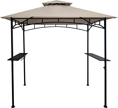 DikaSun BBQ Grill Gazebo 8' x 5' Barbecue Canopy Double Tiered Outdoor BBQ Grill Tent w/Air Vent