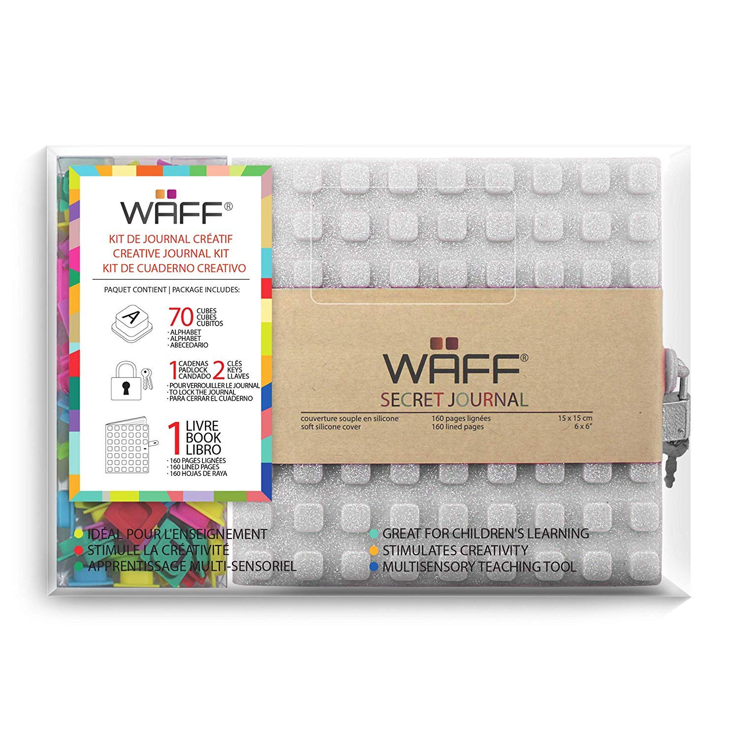 WAFF, Soft Silicone Secret Journals Combo, 70 Alphabet Cubes - Malachite Glitter