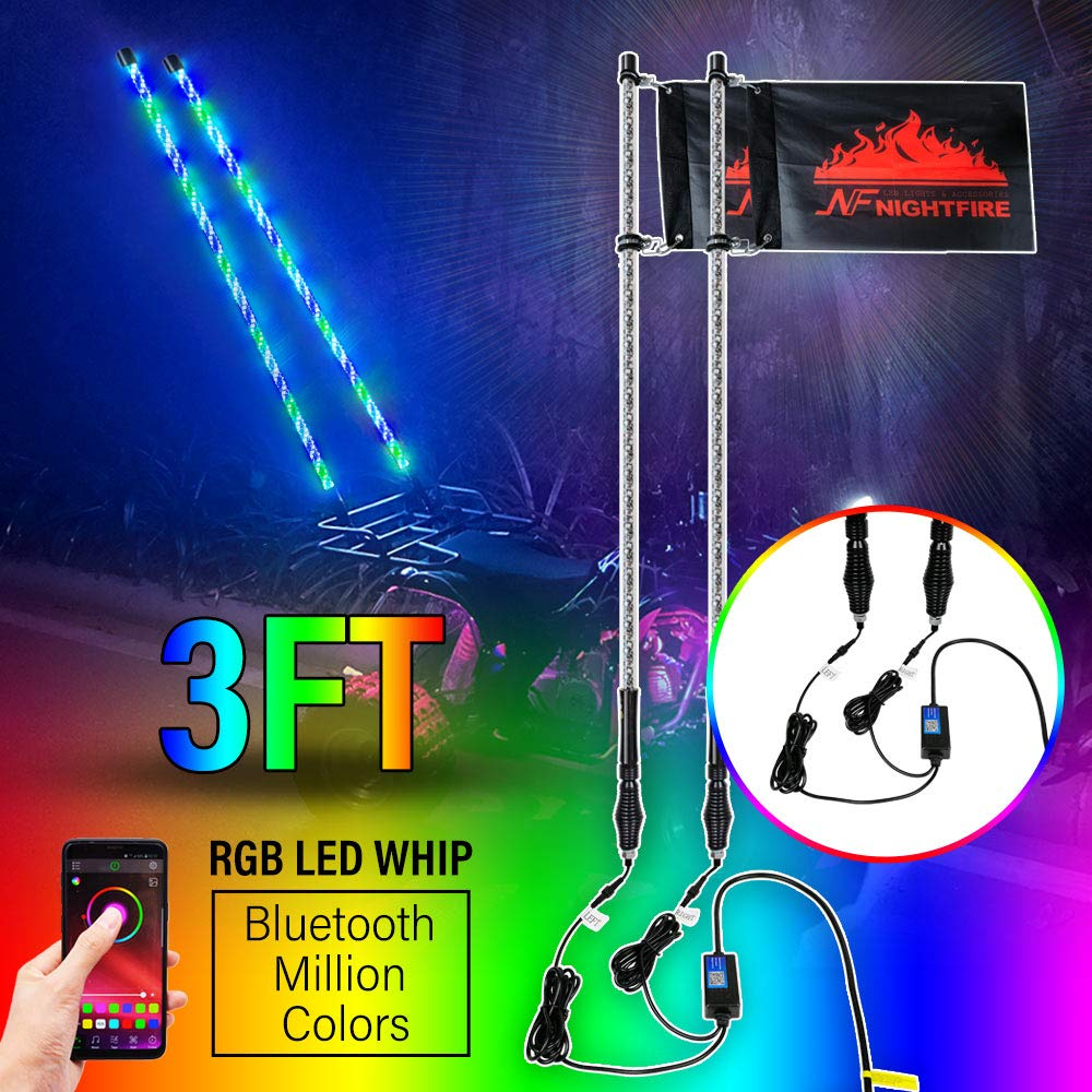 5FT 2PC LED WHIPS Spiral Dancing /& Chasing Light Flag Pole with Wireless Remote Control for ATV UTV Truck Polaris RZR XP 1000 Can am Maverick X3 2 pcs , 5FT Chasing /& Dancing