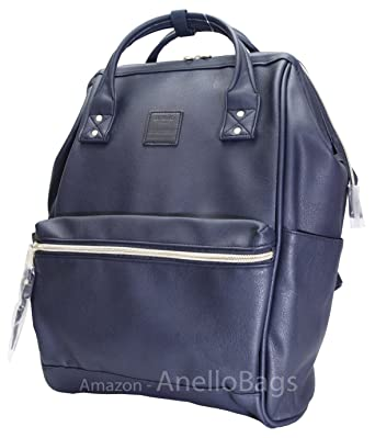 Japan Anello Backpack Unisex NAVY LARGE PU LEATHER Rucksack Quality School Bag Campus