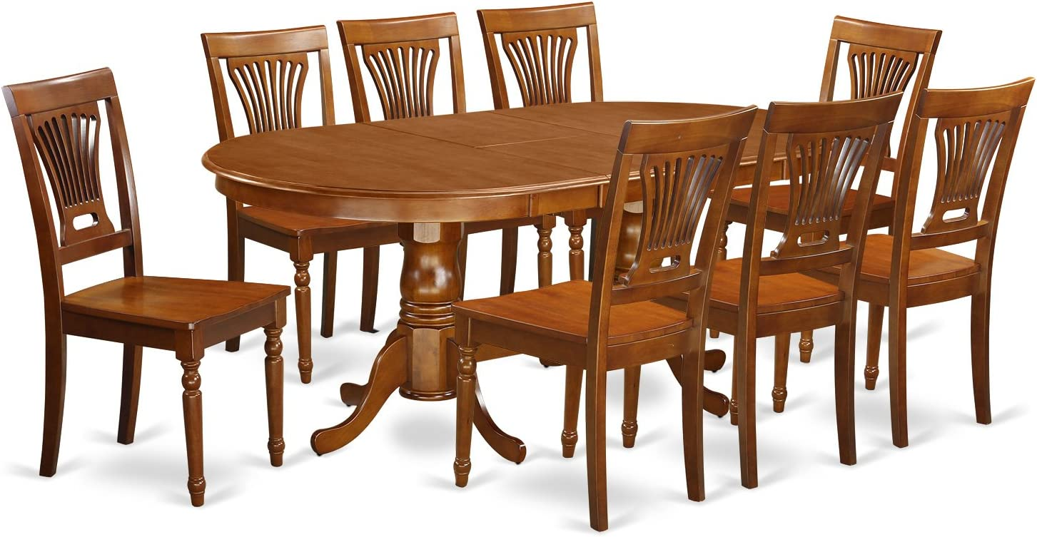 East West Furniture PLAI9-SBR-W 9 PC Dining Room Set for 8-Dining Table and 8 Dining Chairs