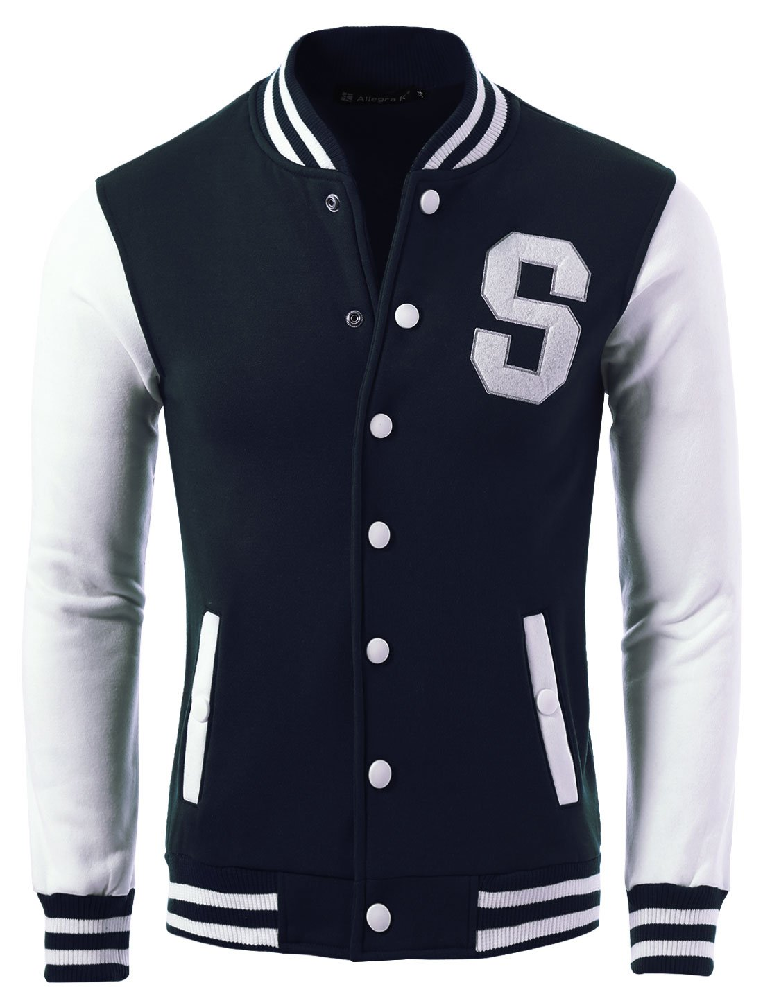 Allegra K Men Letter Pattern Snap Buttons Casual Baseball Jacket Navy Blue S by uxcell
