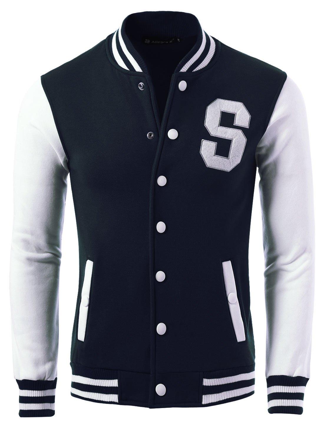 Allegra K Men Letter Pattern Snap Buttons Casual Baseball Jacket Navy Blue S