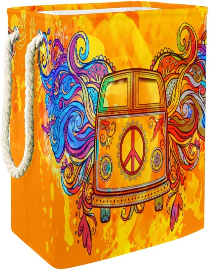 Hamper Basket Hippie Car Mini Van Retro 1960S Love and Music Cloth Organizer Toy Storage Country Home Decor
