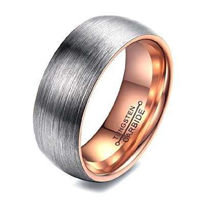 PAURO Unisex's Tungsten Carbide Comfort Fit Wedding Band Brushed Matte Finish Ring CEQ99ScS3