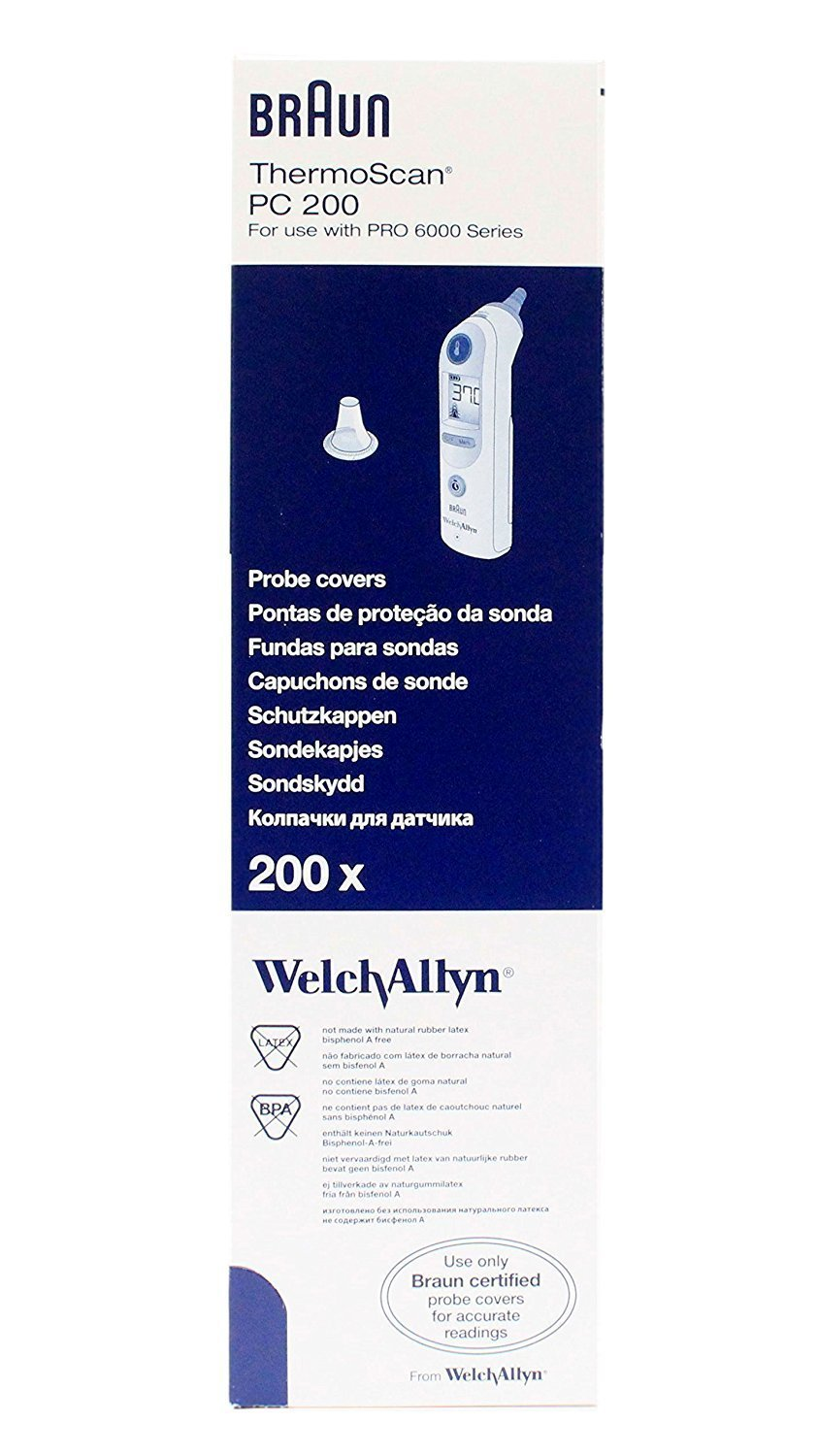 Braun PC 200 Probe Cover by Welch Allyn (Pack of 200)