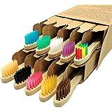 Kids Bamboo Toothbrush 10 Pack Toothbrushes Set Premium Soft Bristles Manual Tooth Brushes Kit, Children's Vegan Natural Wood
