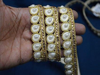 Fancy Pearl Bridal Lace Trim Ribbon Sewing On Craft Wedding Sari SILVER 1 METER