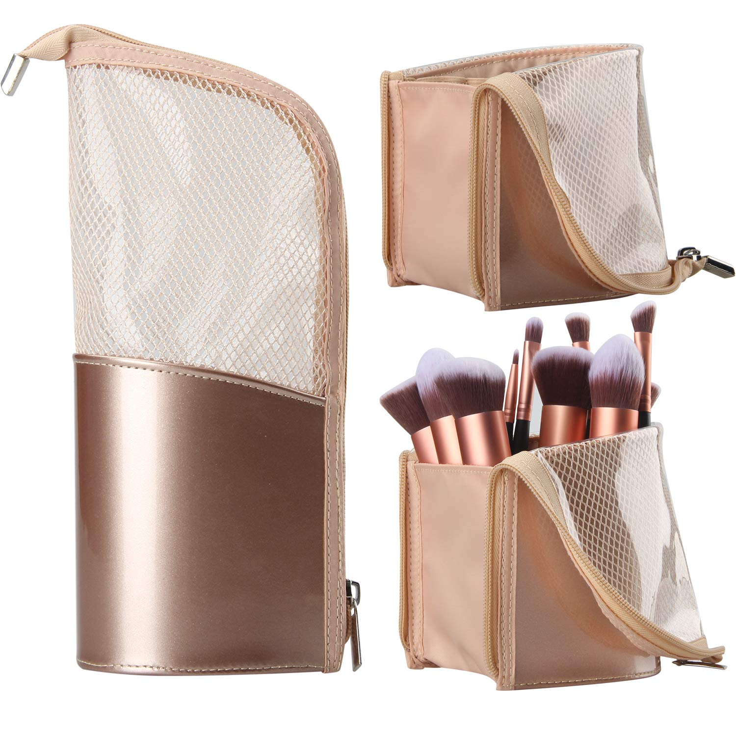 Travel Makeup Brush Bag, Portable Rose Gold Makeup Brush Holder Organizer Bag Waterproof Stand-Up Makeup Brush Pouch,Professional Artist Makeup Brush Case