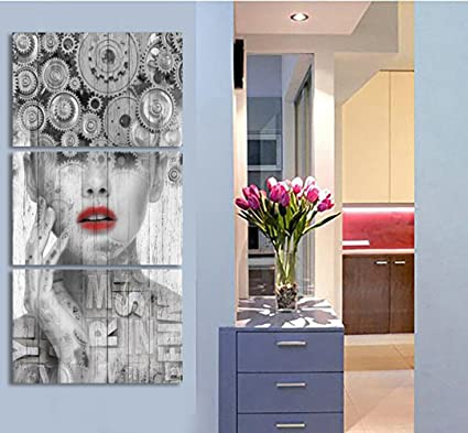 Amazon.com: Large Black and White Wall Decor Abstract Pictures 3 ...