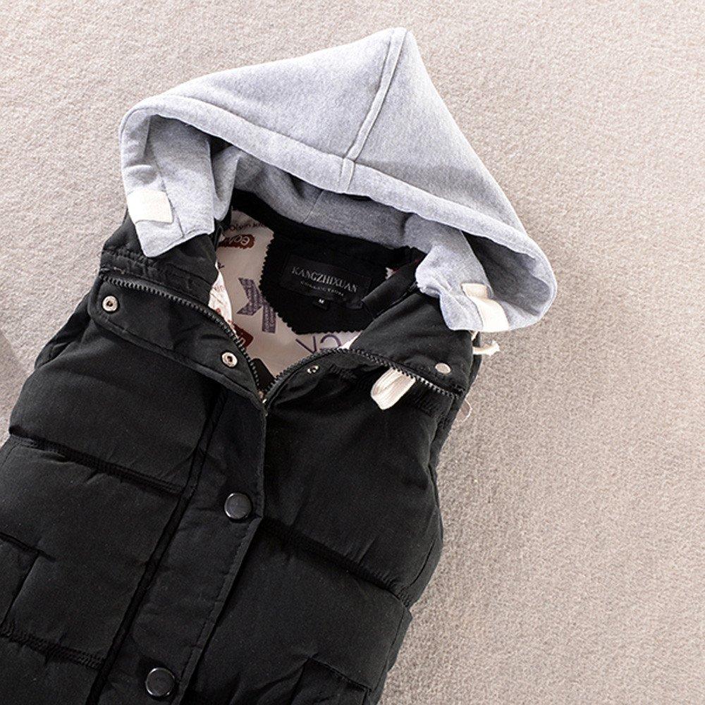 Gergeos Women Hooded Vest Female Sleeveless Warm Cotton Solid Jacket Short Vest Outerwear