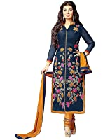 Aarvicouture Women's Unstitched Salwar Suit Dress Materials French Crepe Anarkali With Dupatta