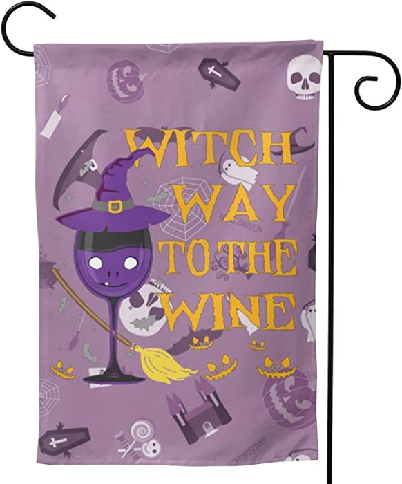 Furunxin Witch Way to The Wine Halloween Garden Flag Vertical Double Sided 12 X 18 Inch Outdoor Yard Decor