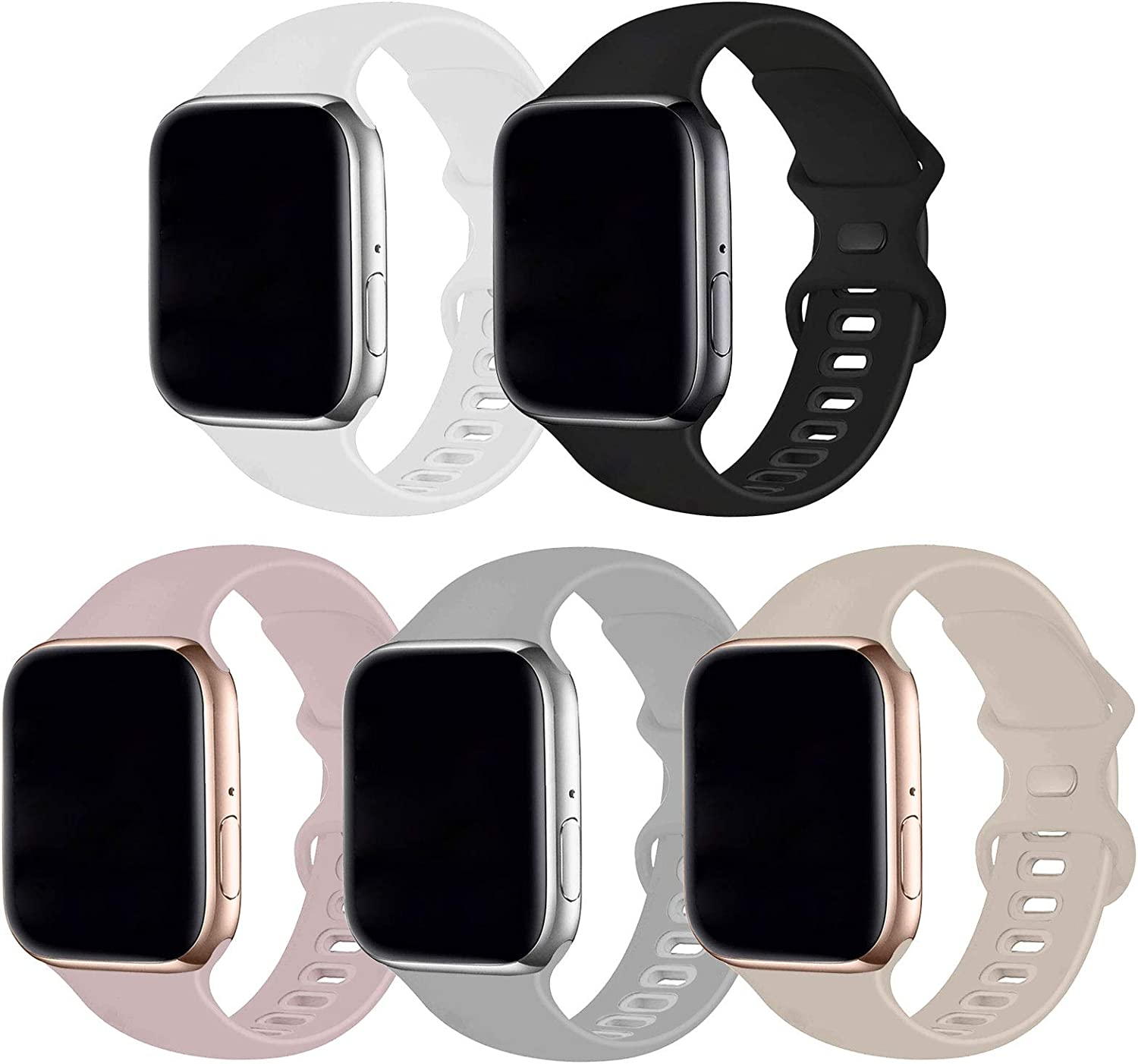 Bifeiyo 5 Pack Compatible with Apple Watch Band 42mm 44mm ML,Soft Silicone Sport Replacement Straps Compatible for iWatch Series6/5/4/3/2/1/SE(Pink Sand/Black/White/Fog/Stone)
