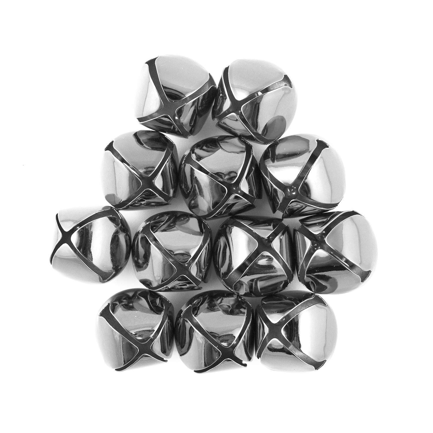 1.25 inch 30mm Large Silver Jingle Bells Bulk 100 Pieces