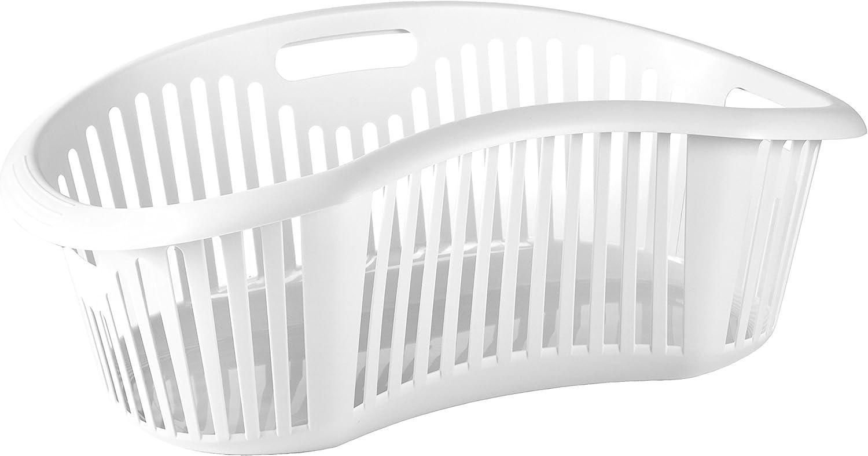 Tatay 1100501 Cesta Ergonómica para la Colada 30 litros de Capacidad plástico Polipropileno, Blanco, 63 x 41,4 x 23,2 cm