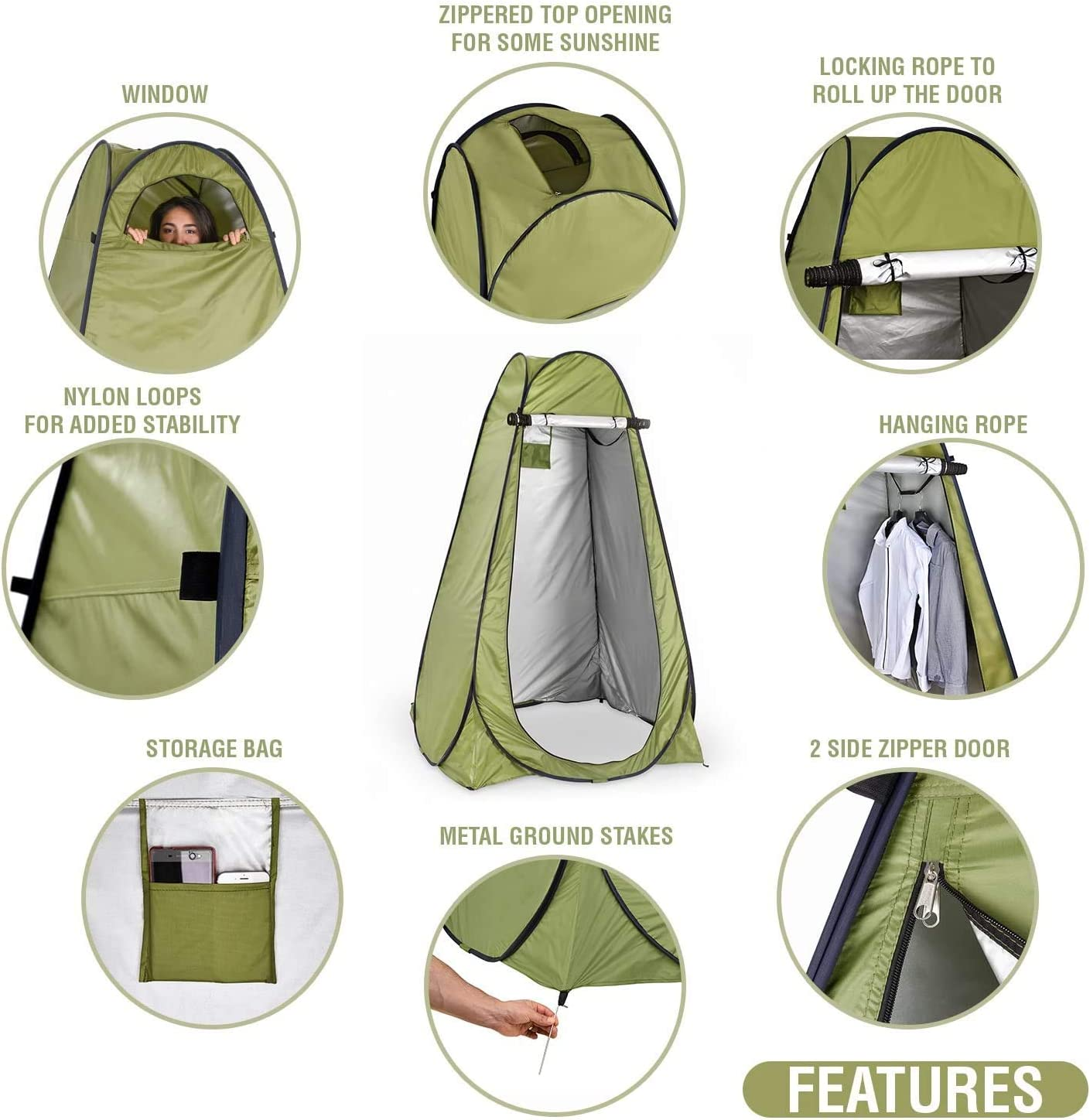 Lightweight and Sturdy Easy Set Up Futagofy Pop Up Privacy Tent Foldable with Carry Bag Instant Portable Outdoor Shower Tent Changing Room for Camping and Beach Rain Shelter with Window Camp Toilet