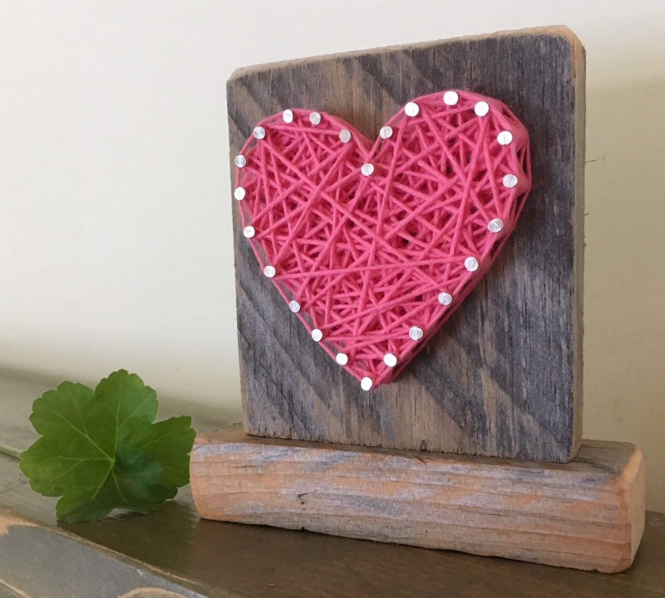 Sweet & small freestanding wooden pink string art heart sign. Perfect for Mother's Day, home accents, Wedding favors, Anniversary gifts, nursery decoration and just because gifts by Nail it Art.