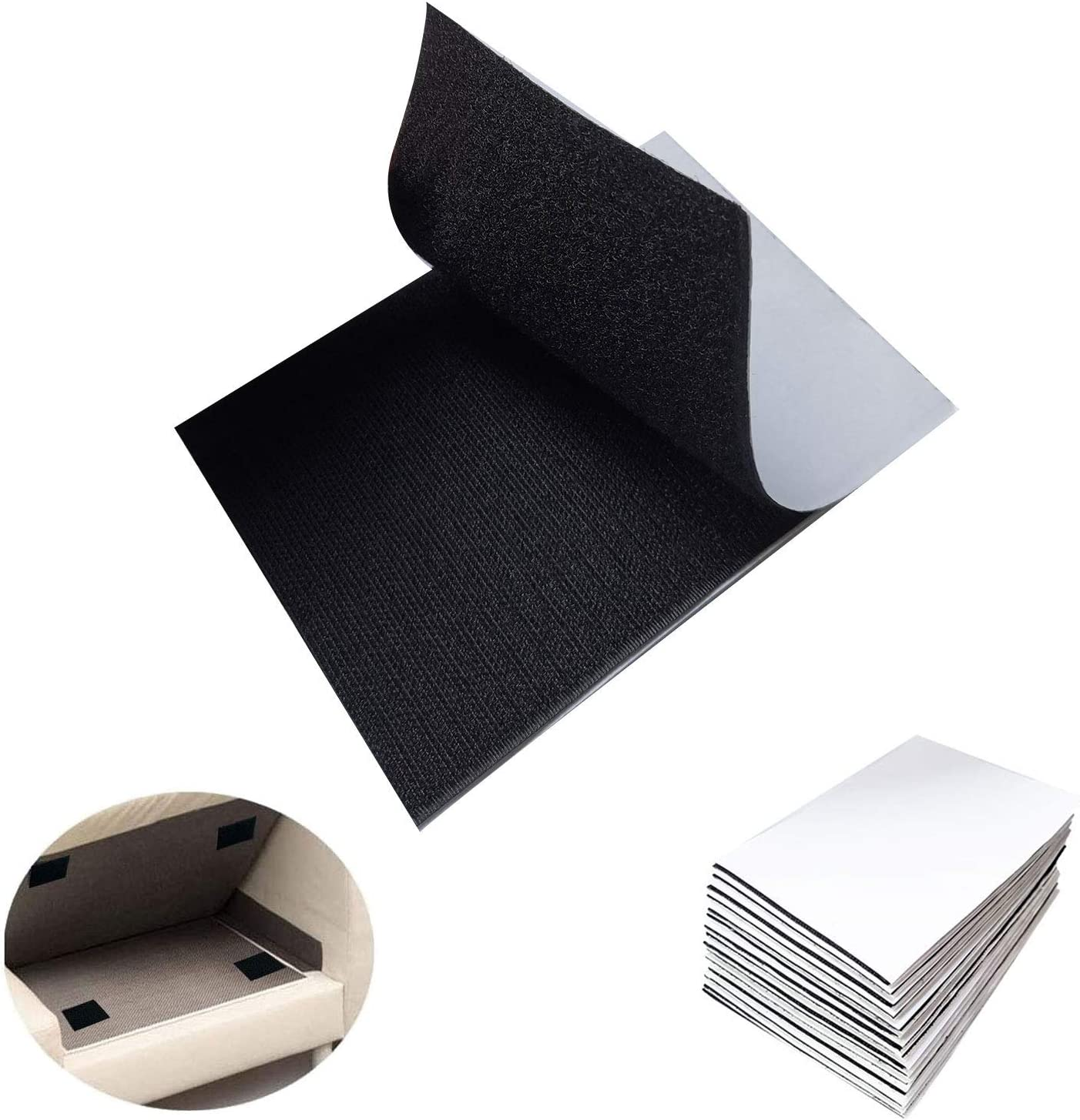 15 Packs Hook and Loop Tape, 4 x 6 inch Hook Loop Strips Self Adhesive Non Slip Sticky Back Mounting Tape,30 Pcs Double-Side Couch Hook Loop Tape Chair Pads