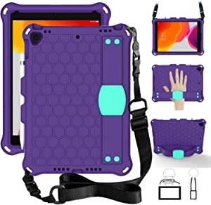 TabPow Kids Case For iPad 8th Generation 2020 10.2 Inch/ iPad 7th Generation , iPad Air 3 (2019) / iPad Pro 10.5'' (2017) Tablet Case with Shoulder Strap, Stand, Hand Grip, Pencil Holder (Purple Teal)