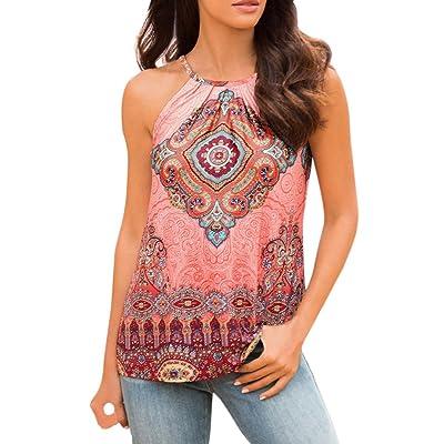 Weant Femme Camisole Été Femme Lady Sans Manches U-Neck Floral imprimé Vest Débardeur Tops T-Shirt Top Crop Gilet Camisole Debardeur Tops Femme Chemisier
