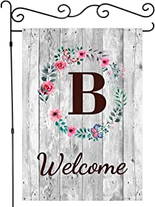 JAWO Welcome Monogram B Garden Flag, Rustic Gray Barn Wooden Wall with Initial Letter Garden Flags House Banners Yard Flag Outdoor Flags Single Side Flag 28X40 Inches