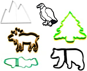 MOUNTAIN WILDLIFE OUTDOOR ANIMALS ROCKY HABITAT SET OF 6 SPECIAL OCCASION COOKIE CUTTERS BAKING TOOL 3D PRINTED MADE IN USA PR1402