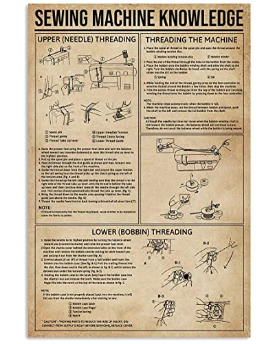 Amazon Com Sewing Machine Knowledge Poster 1 Wall Decor Bathroom Bedroom Decor Prints Canvas Wall Art Small Framed Artwork For Walls Vintage Handmade