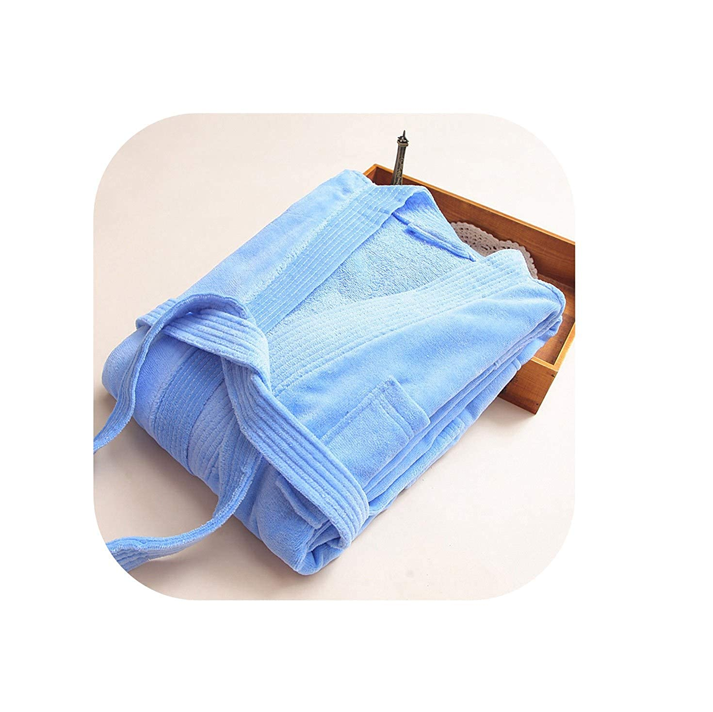 bluee TheUniqueHouse Sexy Cotton Bathrobes Thicken Towel Fabric LongSleeve Fashion Kimono SPA Hotels Robes