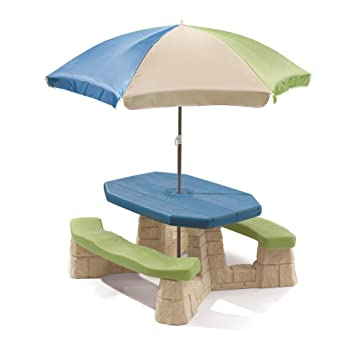 Step2 Naturally Playful And Picnic Table With Umbrella For Kids   Durable Outdoor  Patio Children Table