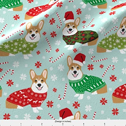 spoonflower corgi fabric christmas corgi fabric cute ugly sweaters fabric christmas sweater fabric cute christmas dogs