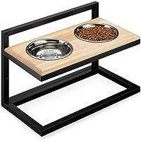 Navaris Hundbar höjdjusterbar dubbel skål foderstation – 2 x rostfritt stål matskål med hållare av metall och trä…