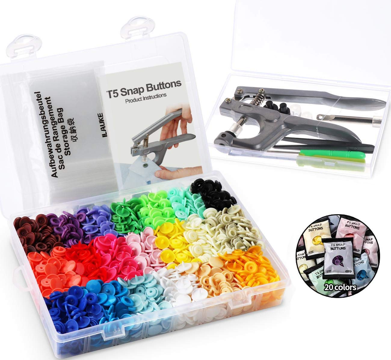 200 Complete Sets KAM Snaps T5 Press Poppers Resin Snaps Fasteners 1 Pliers