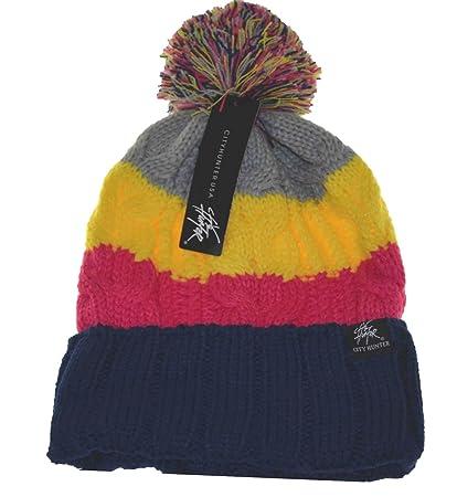 Amazon.com   City Hunter Pom Pom Knit Beanie Hat 3 Tone 13