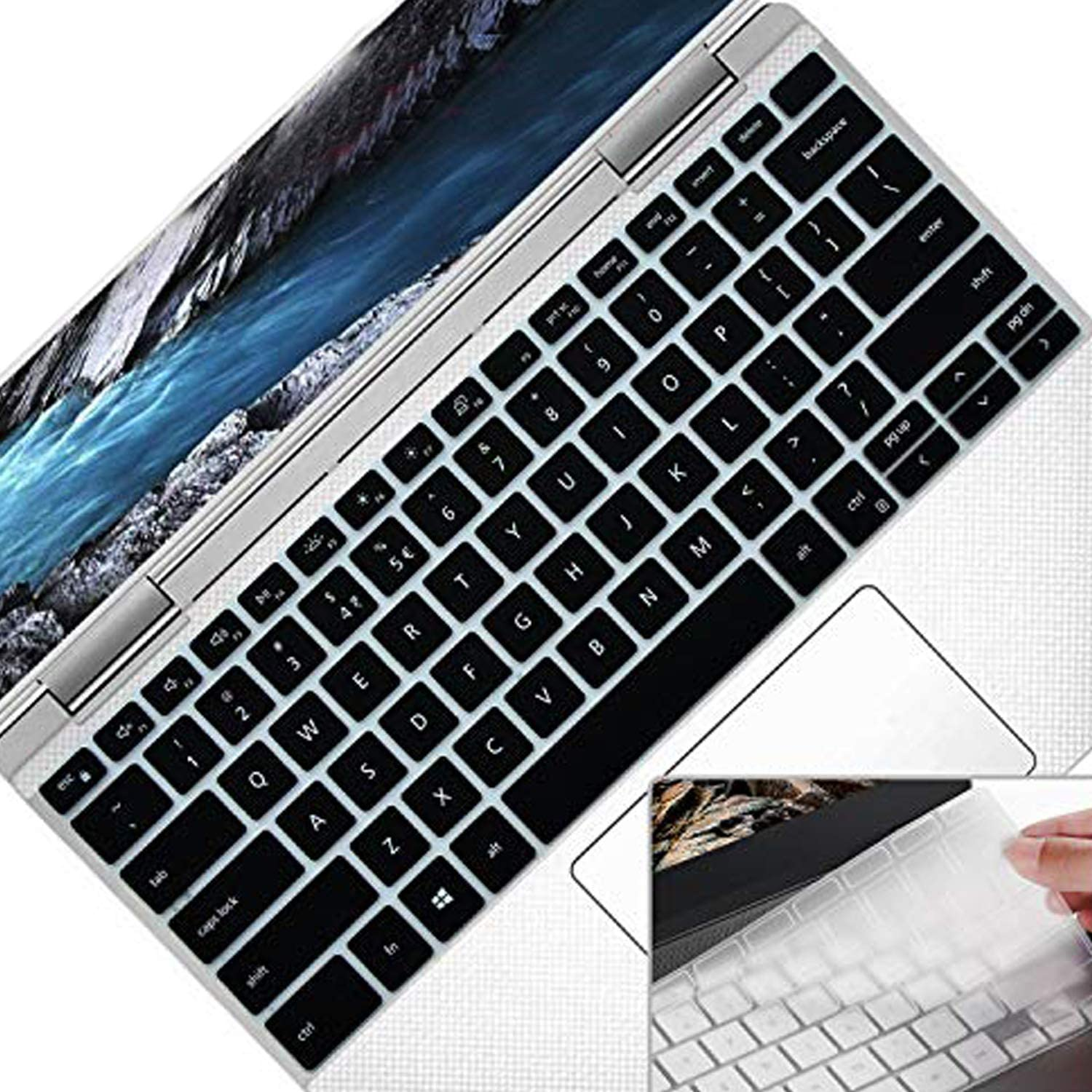 "[2Pack] Lapogy Silicone Keyboard Cover Skin Compatible Only New 2019 Dell XPS 13 Inch 7390 i7391 2 in 1 Laptop 13.3"",Ultra Thin Keyboard Protector Accessories Skin for 2-in-1Version Only,Black+Clear"