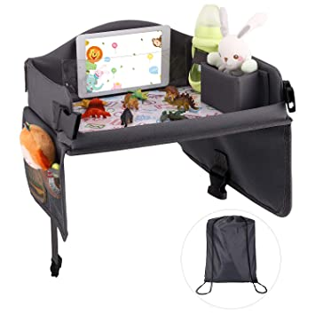 Durable Toy Organizer Chest and Lap Desk // Tablet Holder for Drawing /& Watching Videos Zooawa Toy Travel Storage Bag Kids Removable Toddler Car Seat Travel Tray Pink