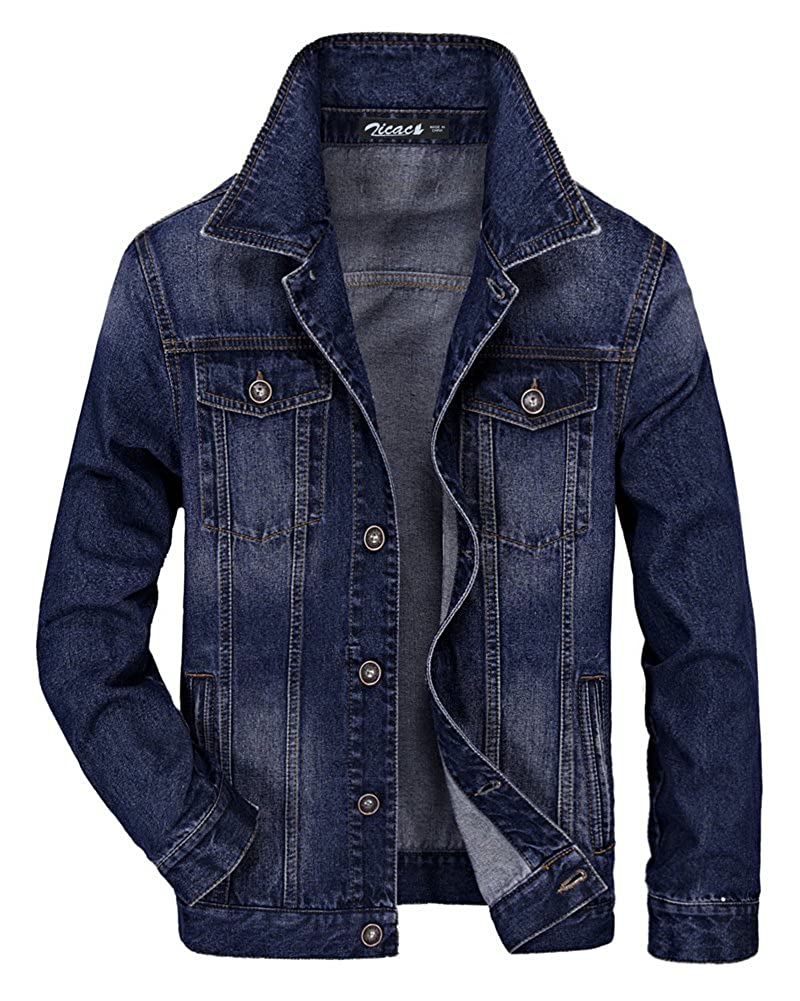 Zicac Men's Fleeced Denim Jacket Winter Fall Warm Cowboy Coat Outerwear Parka